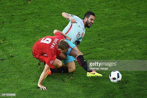 Borek Dockal of Czech Republic tackles Arda Turan of Turkey during the UEFA EURO 2016 Group D match between Czech Republic and Turkey at Stade...