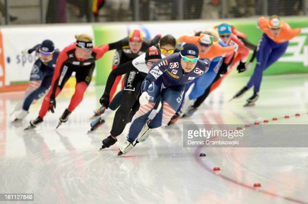 BoReum Kim of Korea leads the field in the Women's mass start race during day one of the ISU Speed Skating World Cup at Max Eicher Arena on February...