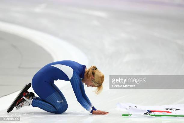 BoReum Kim of Korea reacts after winning the silver medal during the Ladies' Speed Skating Mass Start Final on day 15 of the PyeongChang 2018 Winter...