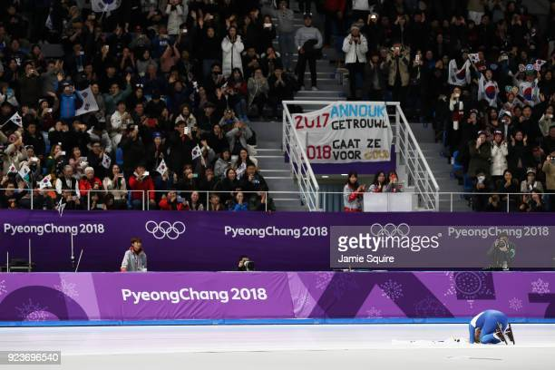 Bo-Reum Kim of Korea reacts after winning the silver medal during the Ladies' Speed Skating Mass Start Final on day 15 of the PyeongChang 2018 Winter...