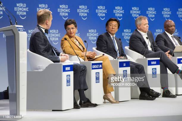 Borge Brende, president of the World Economic Forum, Arancha Gonzalez Laya, executive director of the International Trade Centre , Alex Liu ,...