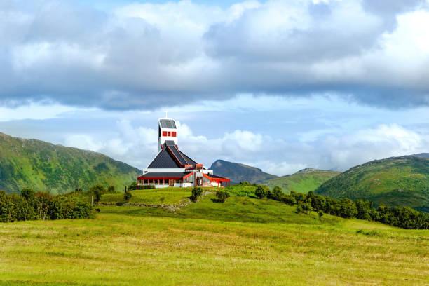 Borge Church, a distinct landmark in rural landscape, at Borg, on Vestvågøya Island, Lofoten archipelago, Nordland county, Norway