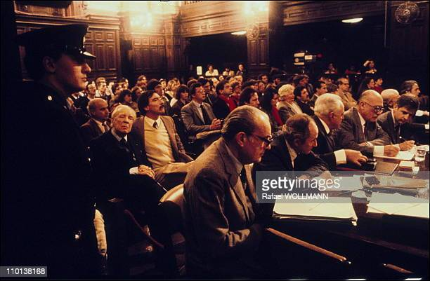 Borges attended the trial of the Junta in Buenos Aires,Argentina in July,1985.