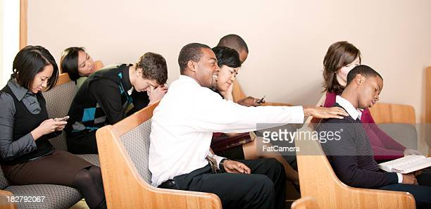 boring sermon - congregation stock pictures, royalty-free photos & images