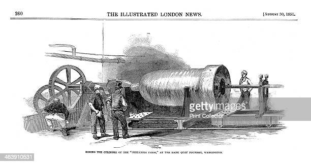 'Boring the cylinder of the 'Britannia Press' at the Bank Quay Foundry Warrington' 1851 Boring the cylinder for the hydraulic press used to raise the...