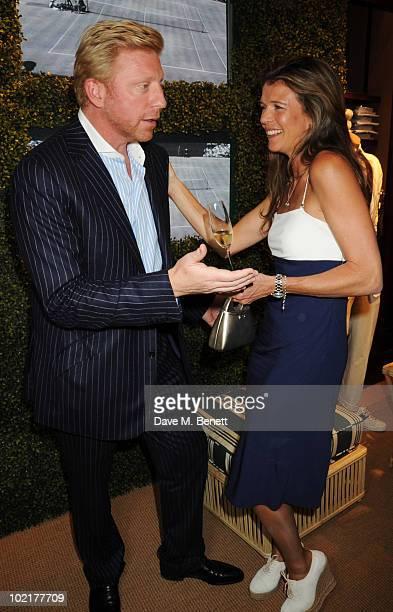 Boris Becker and Annabel Croft attend the Ralph Lauren Wimbledon party at the Ralph Lauren Store on June 17 2010 in London England