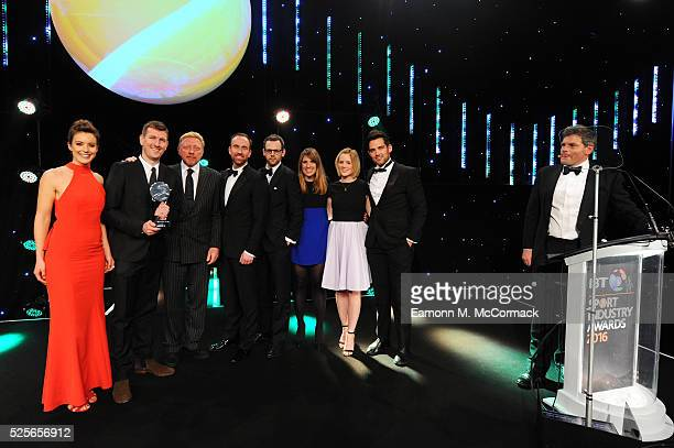 Boris Becker and Charlie Webster present the Best Sponsorship of a team or individual to O2 England Rugby Wear the Rose at the BT Sport Industry...