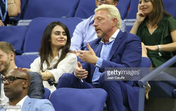 Boris Becker and guest attend the women's semi-finals on day 11 of the 2018 tennis US Open on Arthur Ashe stadium at the USTA Billie Jean King...