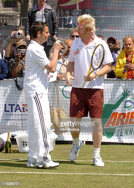 Boris Becker and guest during Ariel Celebrity Tennis Match June 13 2005 at Trafalgar Square in London Great Britain