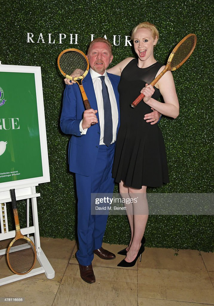 Boris Becker (L) and Gwendoline Christie attend The Ralph Lauren & Vogue Wimbledon Summer Cocktail Party hosted by Alexandra Shulman and Boris Becker at The Orangery at Kensington Palace on June 22, 2015 in London, England.