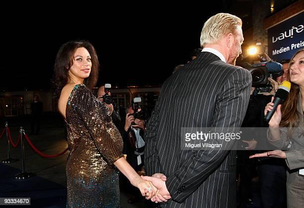 Boris Becker and his pregnant wife Lilly Kerssenberg attend the Laureus Media Award ceremony on November 23, 2009 in Kitzbuhel, Austria.