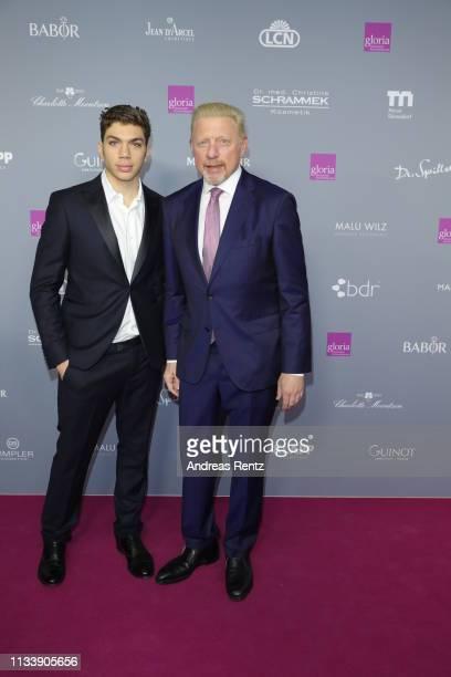 Boris Becker and his son Elias Becker attend the Gloria Deutscher Kosmetikpreis at Hilton Hotel on March 30 2019 in Duesseldorf Germany