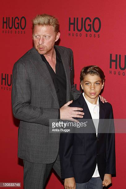 Boris Becker and his son Elias Becker attend the Hugo Show during MercedesBenz Fashion Week Berlin Spring/Summer 2012 at the Forum Museumsinsel at...