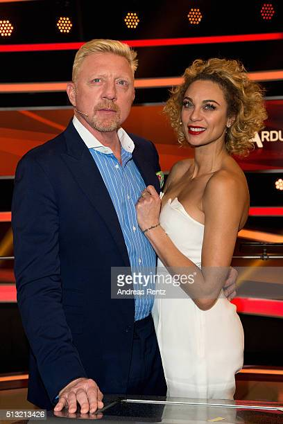 Boris Becker and his wife Lilly Becker attend 'Paarduell XXL' photo call on March 1, 2016 in Huerth, Germany.