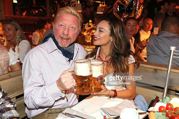 Boris Becker and his wife Lilly Becker during the 'Almauftrieb' as part of the Oktoberfest 2016 at Kaeferschaenke beer tent on September 18, 2016 in...