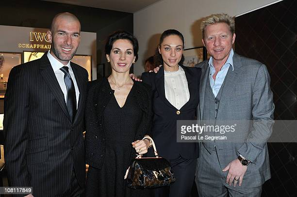 Boris Becker and his wife Sharlely Becker pose with Zinedine Zidane and his wife Veronique during the IWC launch of the Portofino watch range at the...