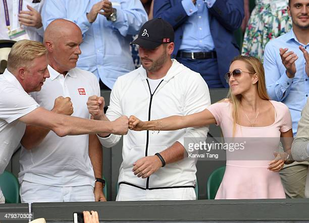 Boris Becker and Jelena Djokovic attend the Novak Djokovic v Bernard Tomic match on day five of the annual Wimbledon Tennis Championships at...
