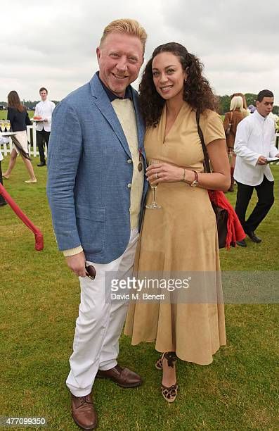Boris Becker and Lilly Becker attend The Cartier Queen's Cup final at Guards Polo Club on June 14, 2015 in Egham, England.