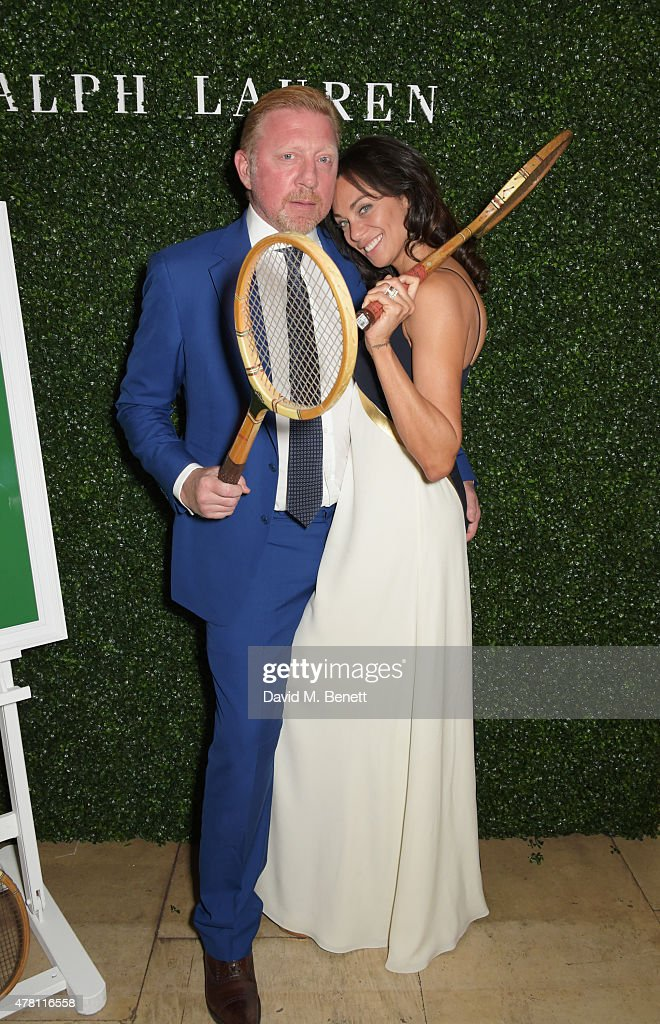 Boris Becker (L) and Lilly Becker attend The Ralph Lauren & Vogue Wimbledon Summer Cocktail Party hosted by Alexandra Shulman and Boris Becker at The Orangery at Kensington Palace on June 22, 2015 in London, England.