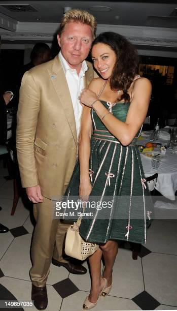 Boris Becker and Lilly Becker attends a private dinner hosted by Rachael Barrett celebrating Jamaica's Emancipation Day at Embassy London on August...