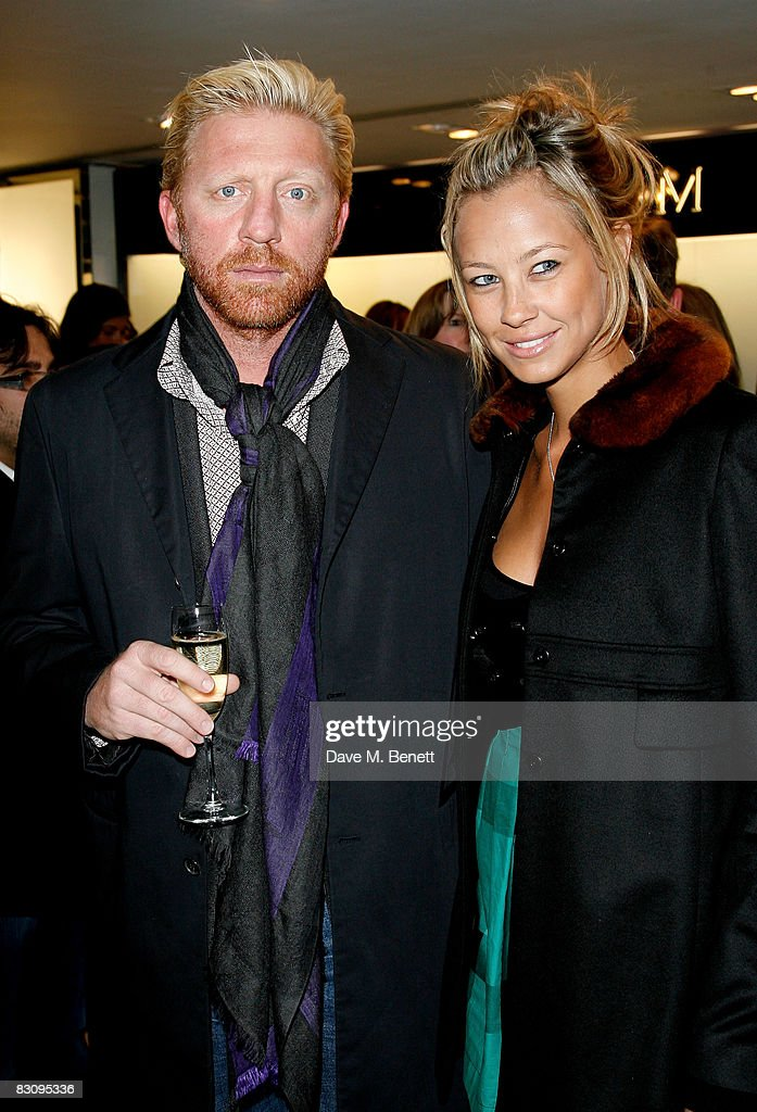 Boris Becker and Sandy Meyer-Wolden attend the launch party for Form Menswear, at Harrods on October 2, 2008 in London, England.