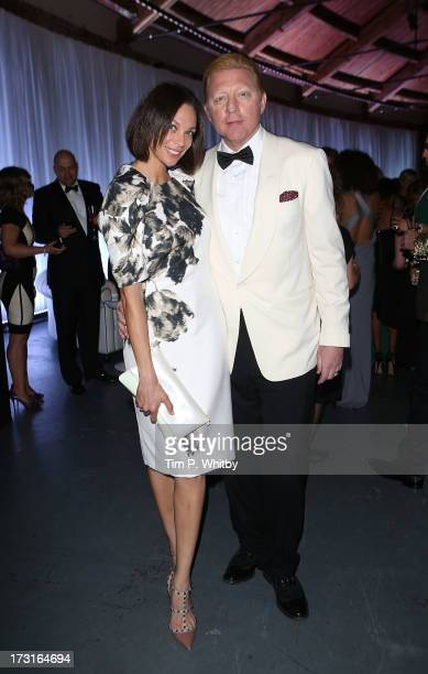Boris Becker and Sharlely Kerssenber attend the Novak Djokovic Foundation inaugural London gala dinner at The Roundhouse on July 8 2013 in London...