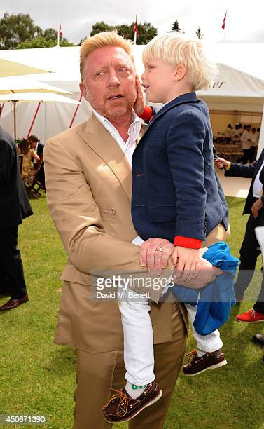 Boris Becker and Son Amadeus attends the Cartier Queen's Cup Final at Guards Polo Club on June 15 2014 in Egham England
