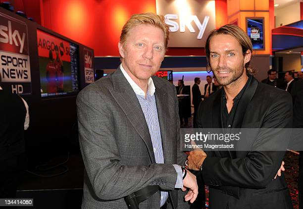 Boris Becker and Sven Hannawald attend the Sky Sports News HD Stations Start at the SKY head office on December 01 2011 in Munich Germany