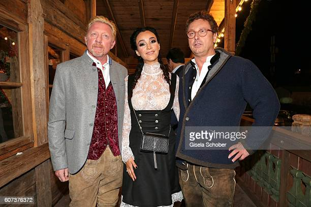 Boris Becker and Verona Pooth Starclub founder Bernhard Fritsch during the opening of the oktoberfest 2016 at the 'Kaeferschaenke' beer tent at...