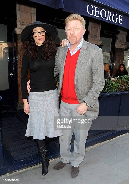 Boris Becker and wife Lilly enjoy a lunch date at George restaurant in Mayfair on March 10 2015 in London England