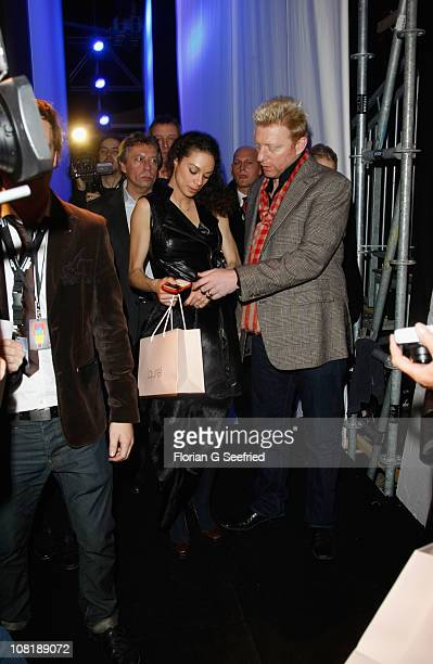 Boris Becker and wife Lilly pose backstage at the Laurel Show during the Mercedes Benz Fashion Week Autumn/Winter 2011 at Bebelplatz on January 20...