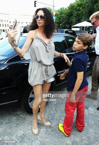 Boris Becker and wife Lilly with his son Elias Balthasar arrive at the Perret Schaad Show during MercedesBenz Fashion Week Berlin Spring/Summer 2012...