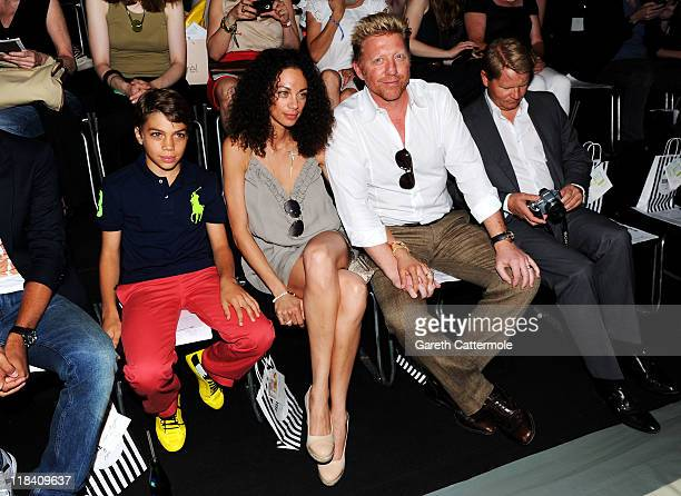 Boris Becker and wife Lilly with his son Elias Balthasar attend the Perret Schaad Show during MercedesBenz Fashion Week Berlin Spring/Summer 2012 at...
