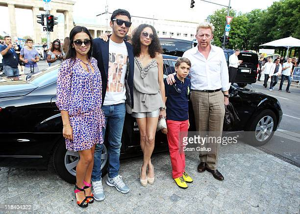 Boris Becker and wife Lilly with his sons Elias Balthasar and Noah with girlfriend Rafaela arrive at the Perret Schaad Show during MercedesBenz...