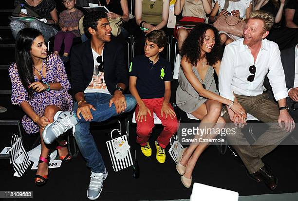 Boris Becker and wife Lilly with his sons Elias Balthasar Noah and his girlfriend Rafaela Remy Sanchez attend the Perret Schaad Show during...