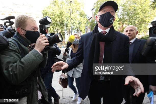Boris Becker arrives for his insolvency hearing at The City of Westminster Magistrates Court on September 24, 2020 in London, England. Boris Becker...