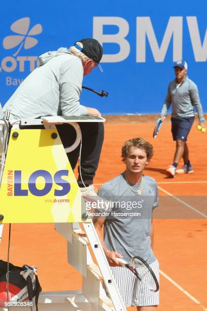 Boris Becker attends a practic session of Alexander Zevrev of Germany on day 3 of the BMW Open by FWU at MTTC IPHITOS on April 30 2018 in Munich...