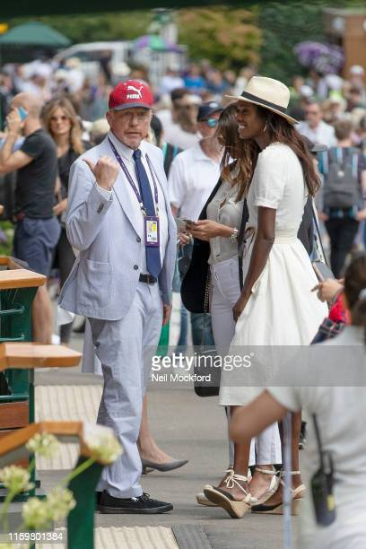 Boris Becker attends day 3 of the Wimbledon 2019 Tennis Championships at All England Lawn Tennis and Croquet Club on July 03 2019 in London England