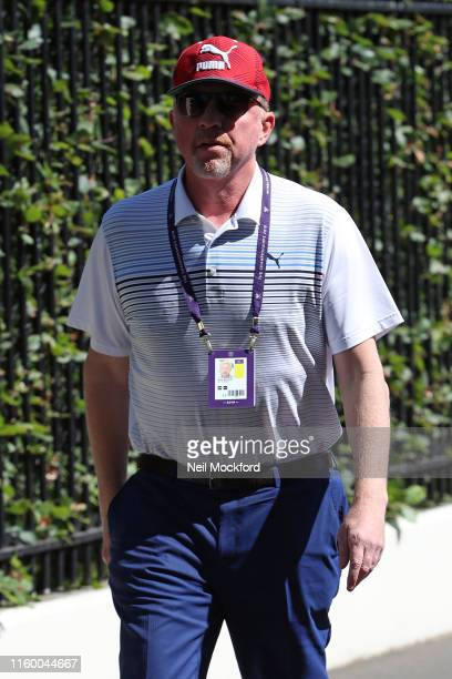 Boris Becker attends day 4 of the Wimbledon 2019 Tennis Championships at All England Lawn Tennis and Croquet Club on July 04 2019 in London England