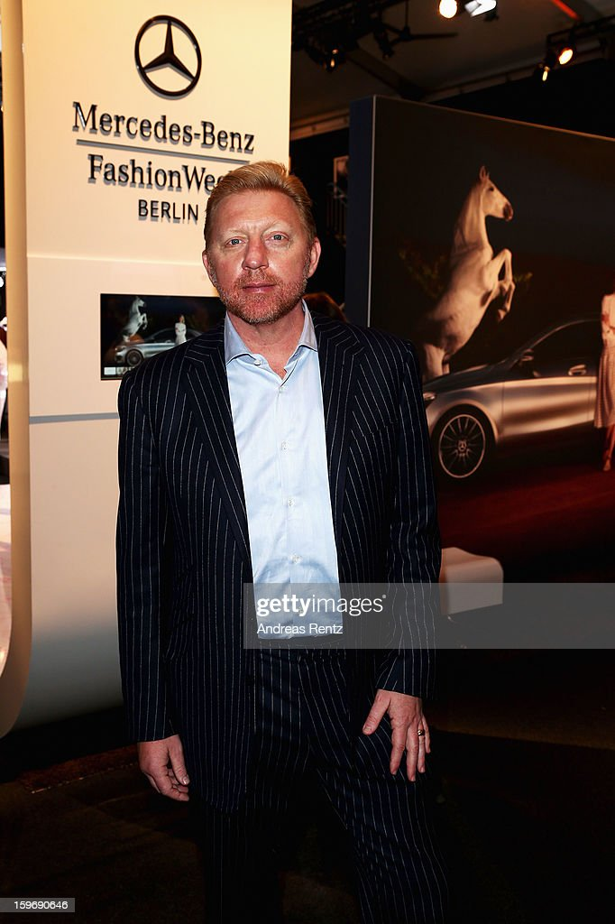 Boris Becker attends Miranda Konstantinidou Autumn/Winter 2013/14 fashion show during Mercedes-Benz Fashion Week Berlin at Brandenburg Gate on January 18, 2013 in Berlin, Germany.