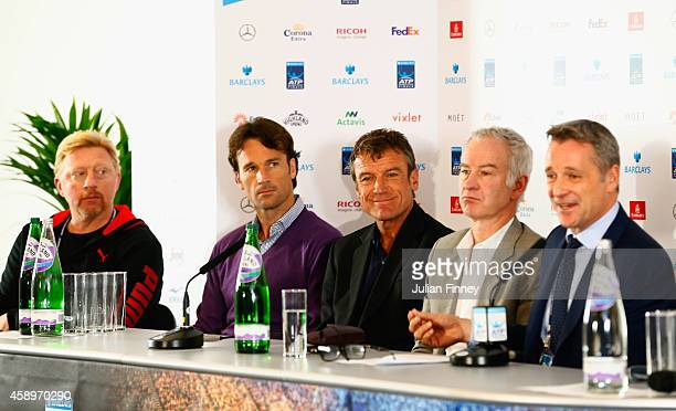 Boris Becker Carlos Moya Mats Wilander and John McEnroe look on as ATP Executive Chairman and President Chris Kermode speaks during a press...