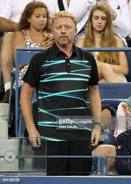 Boris Becker coach of Novak Djokovic attends the 2014 US Open at USTA Billie Jean King National Tennis Center on August 25 2014 in the Flushing...
