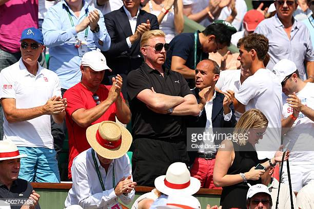 Boris Becker coach of Novak Djokovic of Serbia watches his men's singles final match against Rafael Nadal of Spain on day fifteen of the French Open...