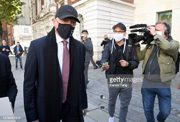 Boris Becker departs after attending his insolvency hearing at The City of Westminster Magistrates Court on September 24, 2020 in London, England....