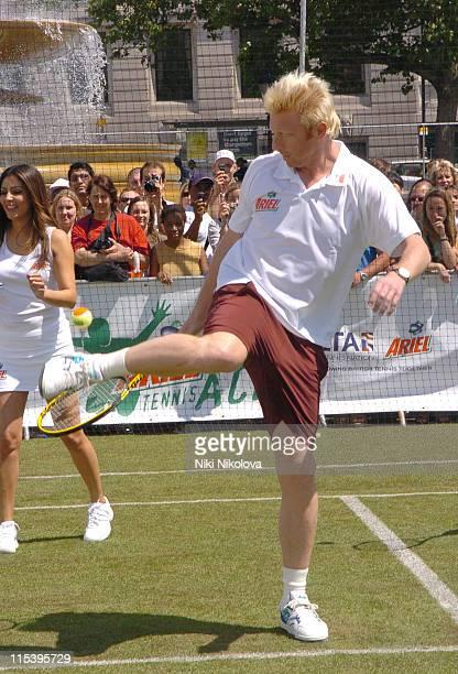 Boris Becker during Ariel Celebrity Tennis Match June 13 2005 at Trafalgar Square in London Great Britain