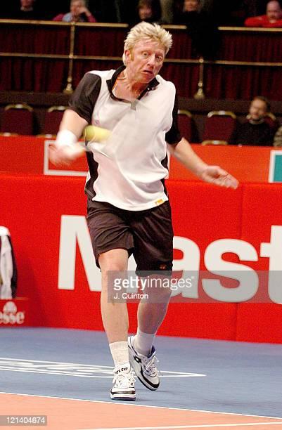 Boris Becker during his match against Richard Krajicek during the The Masters Tennis Championship at Royal Albert Hall, London, Great Britain on...