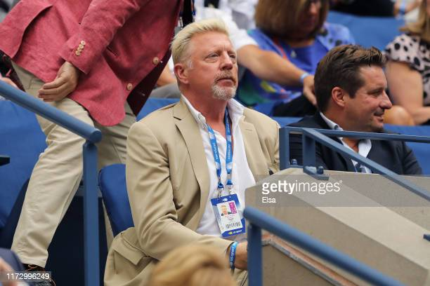 Boris Becker, former tennis pro, looks on before Serena Williams of the United States takes on Bianca Andreescu of Canada during their Women's...
