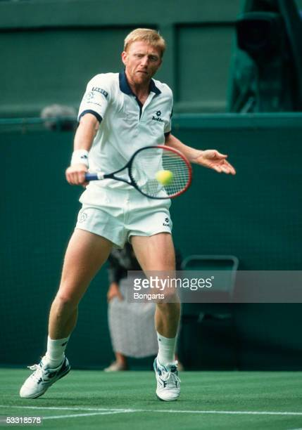 Boris Becker hits a return during the Wimbledon Lawn Tennis Championship on June 10, 1994 at the All England Lawn Tennis and Croquet Club in London