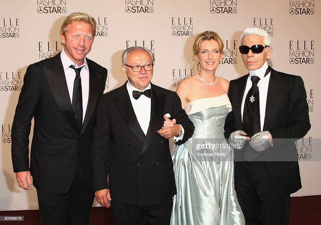 Boris Becker, Hubert Burda Karl Lagerfeld and Maria Furtwaengler arrive at the award ceremony of ELLE Fashion Star during the Mercedes Benz Fashion week spring/summer 2009 at the Tempodrom on July 19, 2008 in Berlin, Germany.