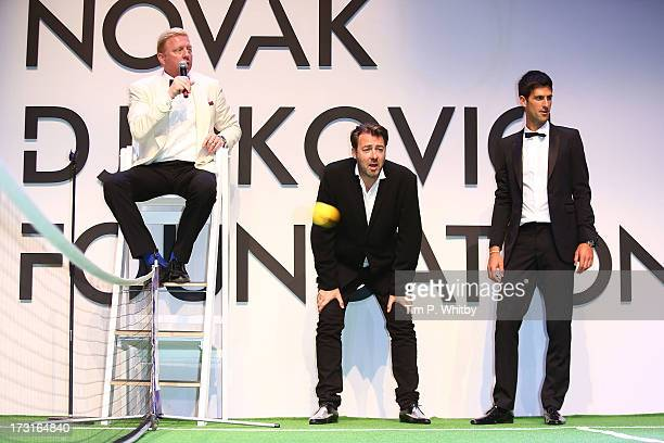 Boris Becker Jonathan Ross and Novak Djokovic attend the Novak Djokovic Foundation inaugural London gala dinner at The Roundhouse on July 8 2013 in...
